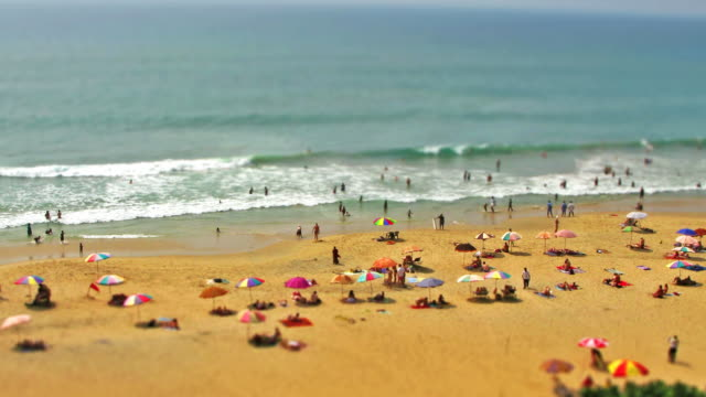 Beach timelapse tilt shift effect HD video video