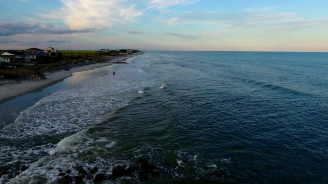 Beach town at sunset video