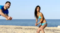 Beach volley action - slowmotion video
