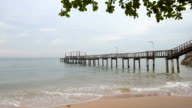 Beach with a wooden bridge extends into the sea video