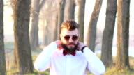 Beard and bow tie are in today, hipster look video