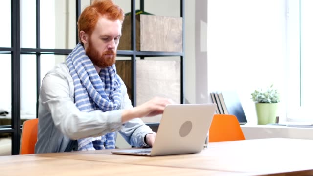 Beard Man Opening, Working and Closing on Laptop video
