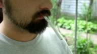 Bearded Man Smokes video