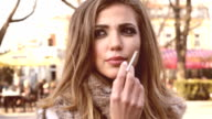 Beatiful Young Woman Smoking video
