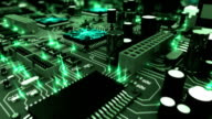 Beautiful 3d animation of the Motherboard with Moving Green Flares and Working Processors in Close-up Seamless. DOF Blur. Looped Flight over the Circuit Board. video