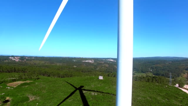 Beautiful aerial close-up view of windmills on the field, Portugal video