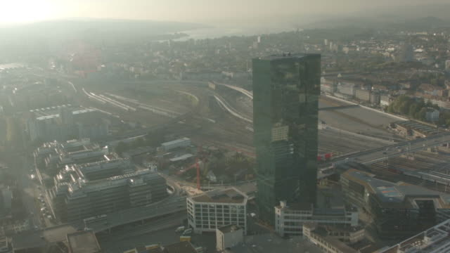 Beautiful aerial drone shot of Zurich Prime Tower video