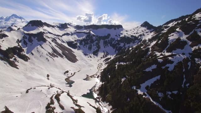 Beautiful Aerial of Mountain Ridges Melting Snow into Valley River video
