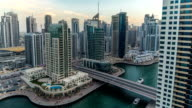 Beautiful aerial top view day to night timelapse of Dubai Marina in Dubai, UAE video