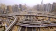 beautiful aerial view of futuristic city landscape with roads, cars, trains, skyscrapers. Dubai, UAE video