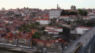 Beautiful aerial view of Oporto and subway train video
