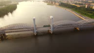 beautiful aerial view of the railway bridge across the river video