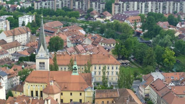Beautiful ancient architecture in old European city of Ljubljana, Slovenia video
