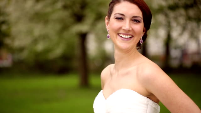 Beautiful and happy bride on her wedding day video