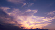 Beautiful angelic clouds flow quietly after sunset video