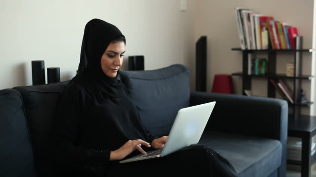 Beautiful Arab Woman Surfing The Net at Home video