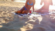 Beautiful Attractive Mixed Race Young Women in Bikinis at the Beach. video