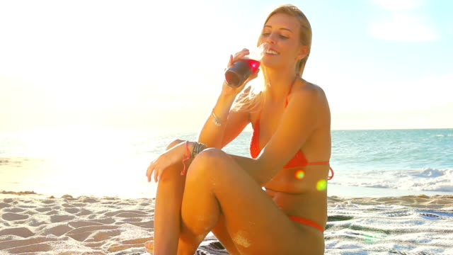Beautiful Attractive Young Blonde Girl in Bikini video