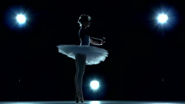 beautiful ballerina on blue background video