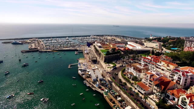 Beautiful Beach in Cascais Portugal aerial view video