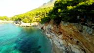 AERIAL Beautiful Beach On Island Hvar video
