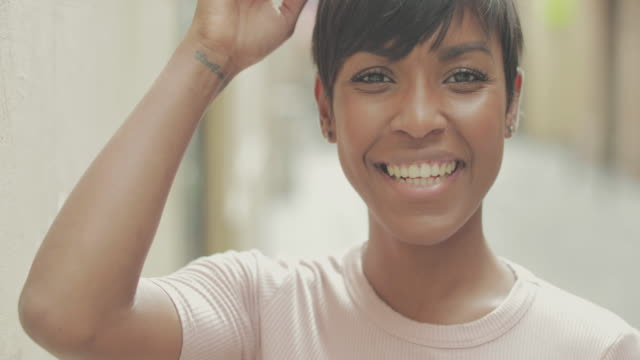 Beautiful black woman slowmotion video portrait video