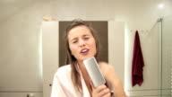 beautiful blonde girl bathroom song Hit the Road Jack video