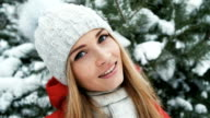Beautiful blonde is smiling on background of winter landscape video