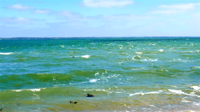 Beautiful blue sea water and waves video