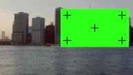 Beautiful boat dragging green screen in front New York City video