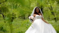 Beautiful bride pose with wedding bouquet video