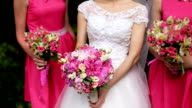 Beautiful bride standing between bridesmaids in pink dresses holding bouquets of roses video