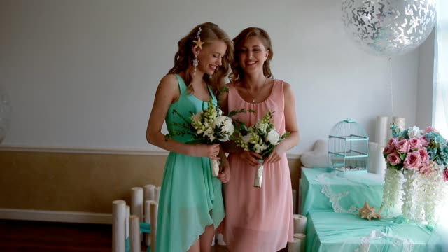 Beautiful bridesmaids with flowers video