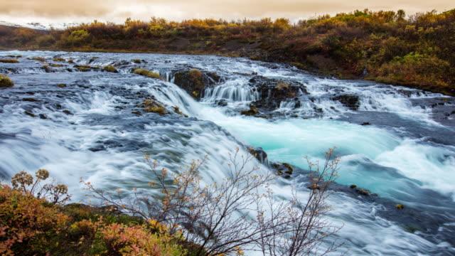 T/L 8K Beautiful Bruarfoss waterfall video