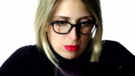 beautiful businesswoman at work video