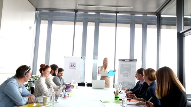 Beautiful businesswoman discussing on a meeting with colleagues video