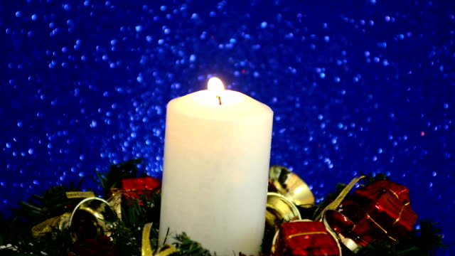 Beautiful Christmas Decorations With Lit Candle video