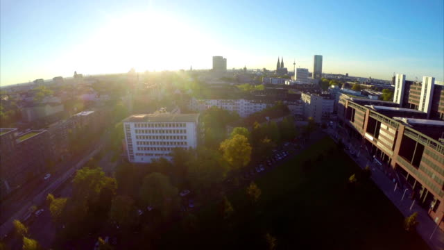 Beautiful city aerial German Cologne, recognizable tourist place. Beautiful aerial shot above Europe, culture and landscapes, camera pan dolly in the air. Drone flying above European land. Traveling sightseeing, tourist views of Germany. video