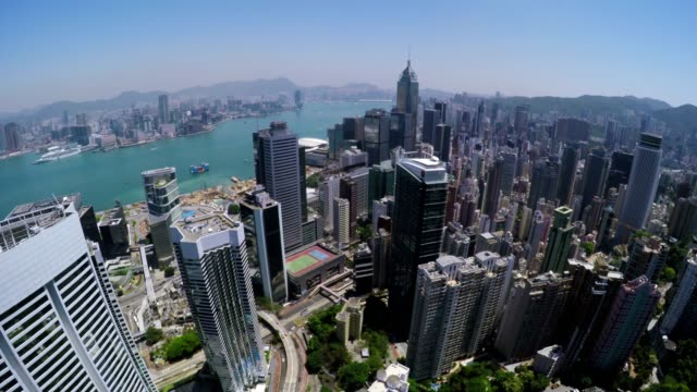 Beautiful Clear Sky Hong Kong City Aerial. video