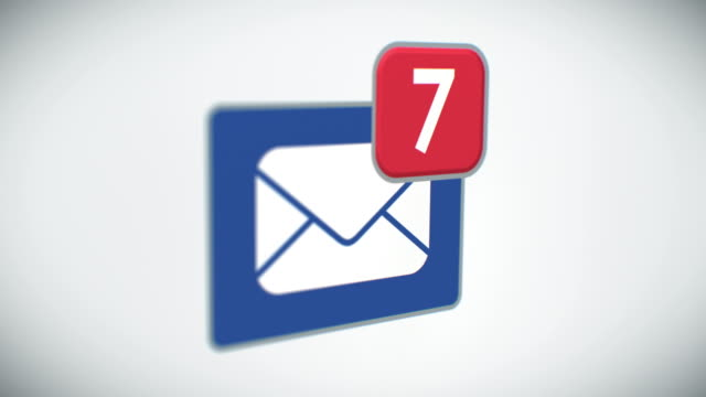 Beautiful Close-up of E-mail Inbox with Messages Counting Quickly. Many Letters Appearing in the Mailbox. 3d Animation. Perspective view with DOF Blur. Business and Technology Concept. video