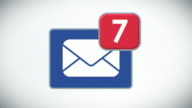 Beautiful Close-up of E-mail Inbox with Messages. Many Letters Appearing in the Mailbox. 3d Animation. Front view. Business and Technology Concept. video