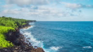 Beautiful cloudscape along the coastline with waves hitting the cliffs video