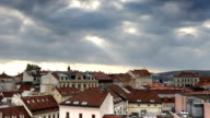 Beautiful cloudy sky over downtown city at day Brno, Czech Republic video
