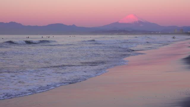 Beautiful dawn on the beach and Mt Fuji video