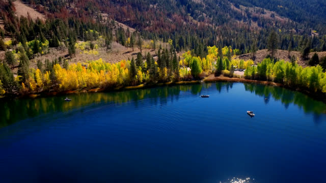Beautiful drone shot of lake in the wilderness with fishermen fishing in the morning sun. video
