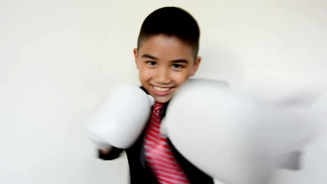 beautiful elegant boy punch with boxe gloves video