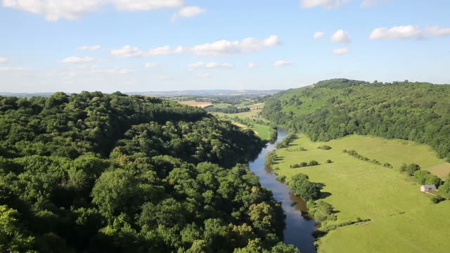 Beautiful English countryside Wye Valley and River Wye pan video