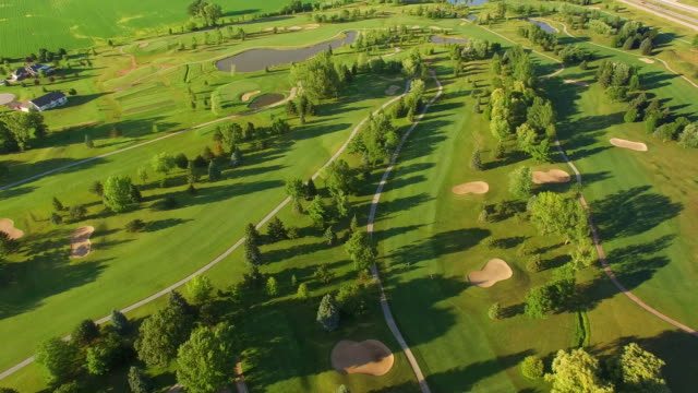Beautiful Evening Scenic Aerial View of Golf Course video