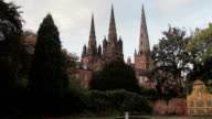 Beautiful Evening Sunset Light on Lichfield Cathedral video