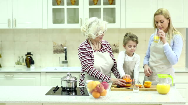 Beautiful family in kitchen video